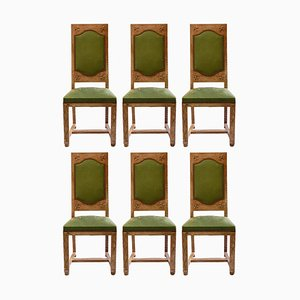 French Arts & Crafts Dining Chairs, Set of 6