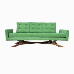 Vintage Green Sofa with Organic Wooden Base, 1970s
