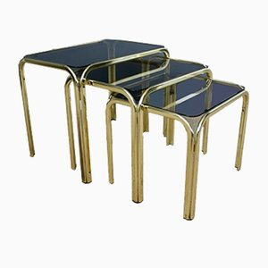Hollywood Regency Italian Brass Nesting Tables, 1970s