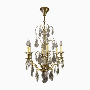 19th Century French Brass & Crystal Chandelier