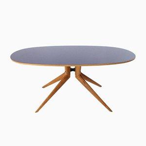 Ovaler Esstisch aus Holz mit blauer Platte, 1950er