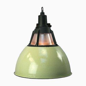 Lampada vintage industriale verde di Holophane, anni '50