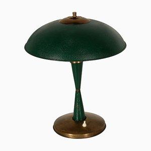 Lampe de Bureau Mid-Century en Aluminium Laqué et Laiton