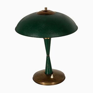 Mid-Century Lacquered Aluminium & Brass Table Lamp