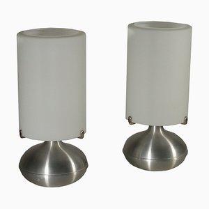 Lampade da tavolo vintage in alluminio e vetro, anni '70, set di 2