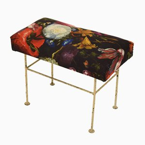 Mid-Century French Metal & Floral Upholstery Stool, 1960s