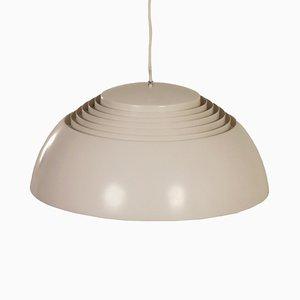 Lámpara colgante en gris y blanco de Arne Jacobsen para Louis Poulsen, años 50