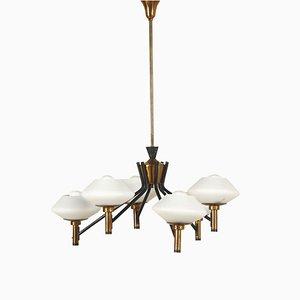 Lampada da soffitto vintage in ottone, metallo e vetro, anni '60