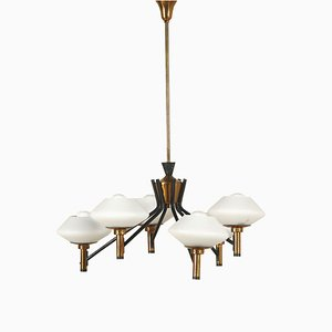 Vintage Brass, Metal & Glass Ceiling Lamp, 1960s