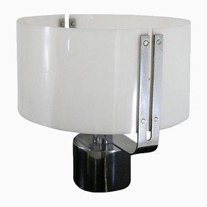 Lampada da tavolo in plexiglas e acciaio cromato, anni '70