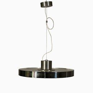 Vintage Deckenlampe aus Glas & verchromtem Metall, 1980er