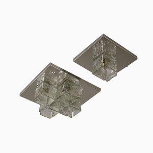 Lámparas de pared vintage de metal cromado y vidrio, años 60. Juego de 2