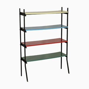 Vintage Metal, Wood & Formica Shelving Unit, 1960s