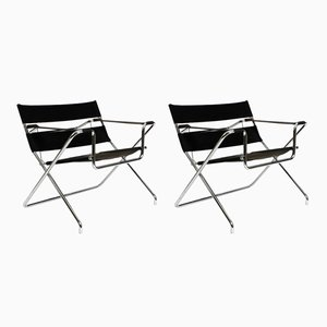 Folding Tubular Steel D4 Chairs by Marcel Breuer for Tecta, 1980s, Set of 2