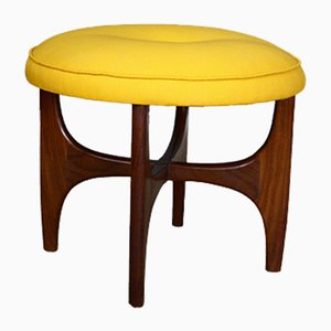 Mid-Century Fresco Teak & Yellow Upholstered Stool by Victor Wilkins for G-Plan