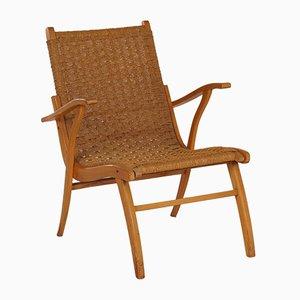 Geflochtener Mid-Century Armlehnstuhl aus Seil von Vroom & Dreesman, 1950er