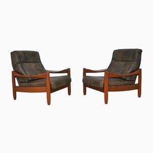 Vintage Armlehnstühle aus Leder & Teak, 1960er, 2er Set
