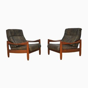 Vintage Leather and Teak Armchairs, 1960s, Set of 2