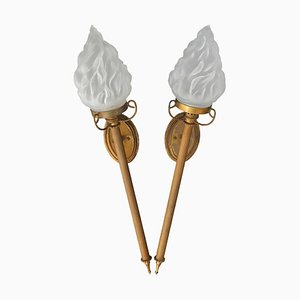 Glass Torch Sconces, 1910s, Set of 2