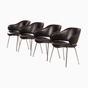 Black Leather Armchairs by Geoffrey Harcourt for Artifort, 1960s, Set of 4