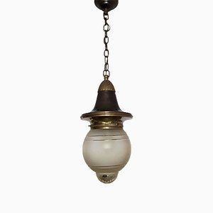 Lámpara de techo alemana vintage de cristal tallado, años 30