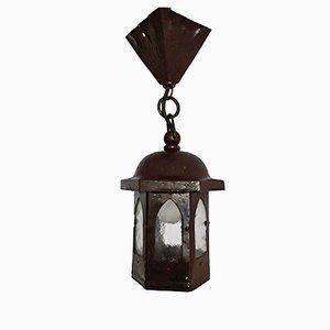 Petite Lanterne Art Nouveau en Fer Martelé & Laiton Peint