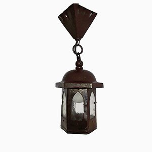 Small Art Nouveau Hammered Iron & Painted Brass Lantern