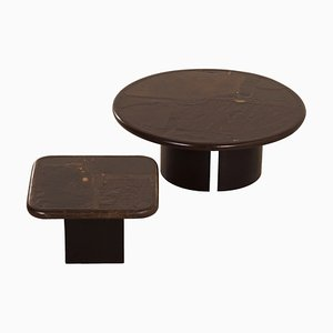 Brutalist Brown Coffee Tables by Paul Kingma, 1989, Set of 2