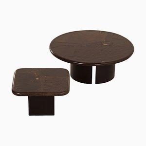 Tavolini da caffè brutalisti marroni di Paul Kingma, 1989, set di 2