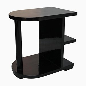 Art Deco Black Polished Side Table, 1920s