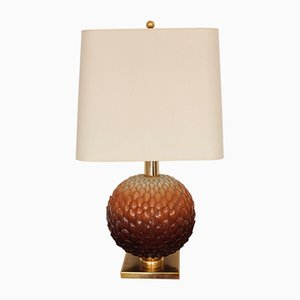 Large Hollywood Regency Style Italian Ceramic & Brass Table Lamp, 1960s