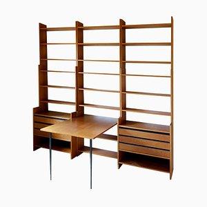 Modulares Wandregal mit Schreibtisch, Regalen und Schubladen von Poul Cadovius für KLM, 1960er