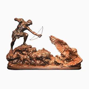 Sculpture Acadmia en Plâtre Doré et Bronze par A. Amorgasti, 1936
