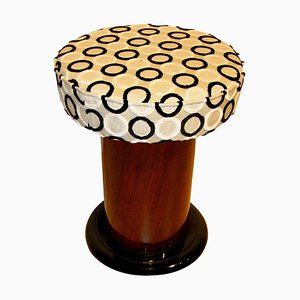 Small Art Deco Walnut Veneer Stool, 1930s