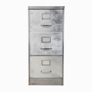 Vintage Industrial Polished Steel 3-Drawer Filing Cabinet, 1930s
