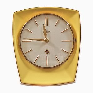 Mid-Century Yellow Ceramic Wall Clock from Kaiser