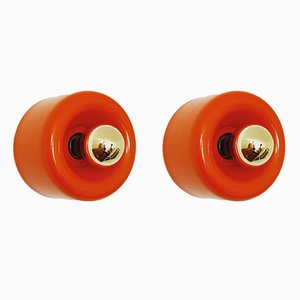 Orange Donut Wall or Ceiling Lamps from Staff, 1970s, Set of 2