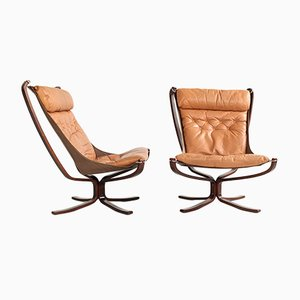 High Back Falcon Chairs by Sigurd Resell for Vatne Møbler, 1970s, Set of 2