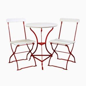 Kleines Jugendstil Gartenset mit Tisch & 2 Stühlen