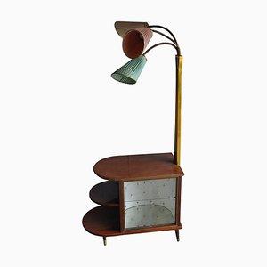 Mobiletto bar Art Déco in noce con lampade di Wilhelm Krechlok Kg, anni '50