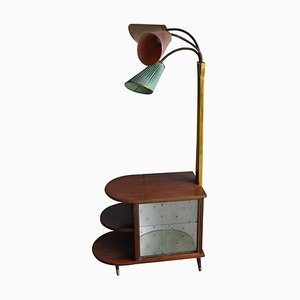 Walnut Cocktail Cabinet Light from Wilhelm Krechlok Kg, 1950s