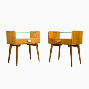 Vintage Walnut & Glass Bedside Tables from WK Möbel, Set of 2