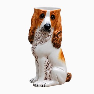 Italian Porcelain Hound Dog Umbrella Stand, 1970s