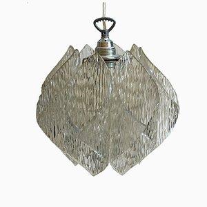 Lampe à Suspension en Verre Givré et Acrylique, 1970s