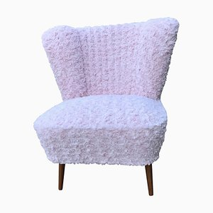 Vintage Pink Faux Fur Cocktail Chair, 1950s