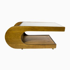 U Shaped Wooden Table with Glass Top, 1970s