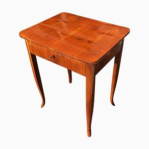 Biedermeier Cherry Wood Side Table with Drawer, 1830s