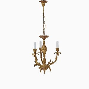 Empire Style Ormolu & Brass 3-Arm Chandelier, 1960s