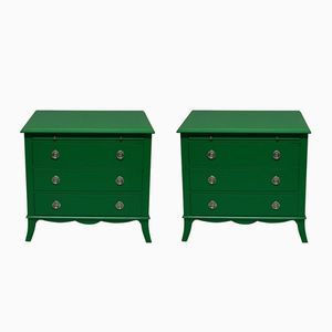 Vintage Green Lacquered Commodes, 1970s, Set of 2