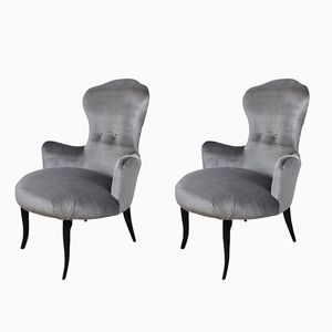 Italian Velvet Easy Chairs, 1950s, Set of 2
